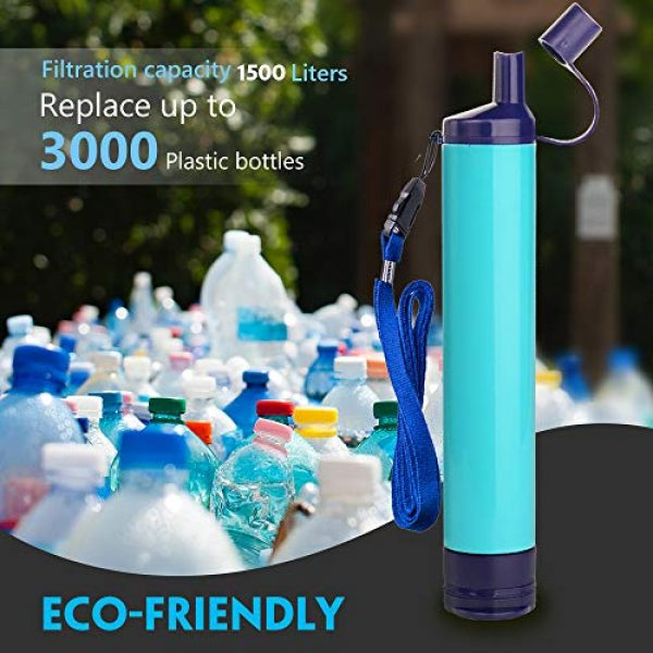 WakiWaki Survival Water Filter 3 WakiWaki Straw Filter, Straw Water Filter, Hiking Water Purifier, Camping Straw Filter for Backpacking, Drinking Water in Survival Situation