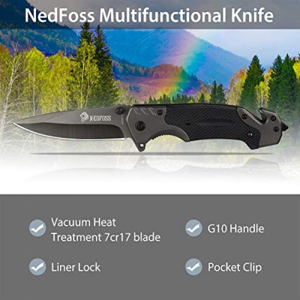 NedFoss Folding Survival Knife 6 NedFoss Survival Folding Knife, with Glass Breaker and Belt Cutter, Thumb Stud and Flip Assist, Outdoor Sturdy Tactical Rescue Pocket Knives with Clip