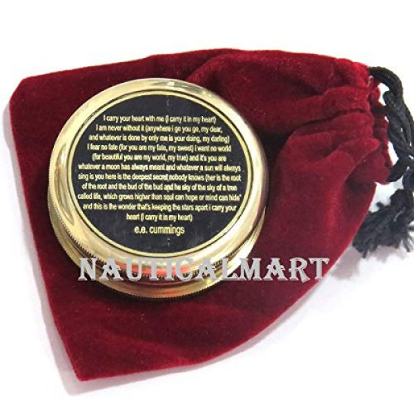 NauticalMart Survival Compass 3 I Carry Your Heart with me Poem Engraved Compass - Valentines Gift - Nautical Love Compass - Love Gift - Unusual Gift for Husband/Wife -him/her - Anniversary - Gift Compass - Birthday Gift
