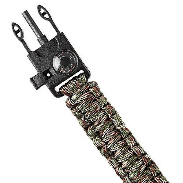 Wsobue Survival Paracord Bracelet 4 Paracord Bracelet, Outdoor Survival Gear Fire Starter Whistle Compass Emergency Knife, Perfect for Hiking Camping Fishing and Hunting