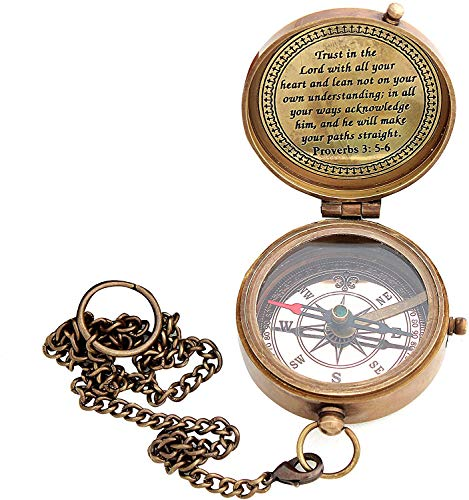 Sara Nautical Survival Compass 5 Sara Nautical Trust in The Lord with All Your Heart Engraved Compass, Proverbs 3: 5-16 Engraved Gifts, Confirmation Gift Ideas, Religious Gifts, Missionary Gifts