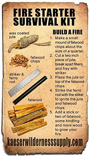 Kaeser Wilderness Supply Survival Fire Starter 3 Kaeser Wilderness Supply Pocket Survival Tin Fatwood Sticks Chips Magnesium Water Proof Matches Ferro Rod