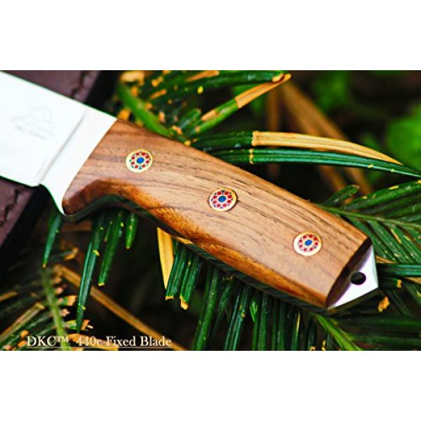 """DKC Knives Fixed Blade Survival Knife 3 Sale (5 9/18) DKC-73-440c Survival 1 440c Stainless Steel Hunting Knife 8"""" Long 4"""" Blade 5.4 oz ! Walnut Wood Handle"""