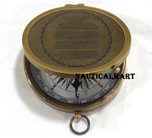 NauticalMart Survival Compass 3 NauticalMart Brass Compass Robert Frost Poem Engraved Embossed Needle with Leather Case