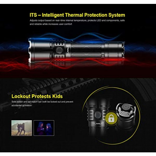 klarus Survival Flashlight 5 klarus XT21X 4000 Lumens CREE XHP70.2 P2 LED Rechargeable Powerful Tactical Flashlight, with 1 x 21700 Battery,SKYBEN Battery Case and USB Light