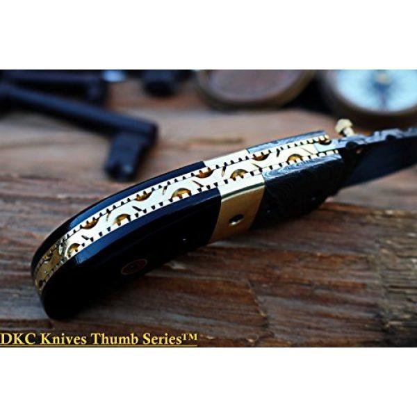 """DKC Knives Folding Survival Knife 7 (8 6/18) Sale DKC-43 Black Thumb Damascus Steel Folding Pocket Knife 3.5"""" Folded 6.25"""" Open 7.5oz 2.25"""" Blade Black Buffalo Horn Damascus Bolster"""