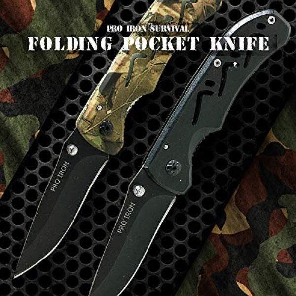 Pro Iron Folding Survival Knife 3 Pro Iron Camo Survival Folding Pocket Knife Black Coated Stainless Steel (3r13) Tactical Knife with Belt Clip Liner Lock for Camping Hunting Fishing and All Other Outdoor Activities