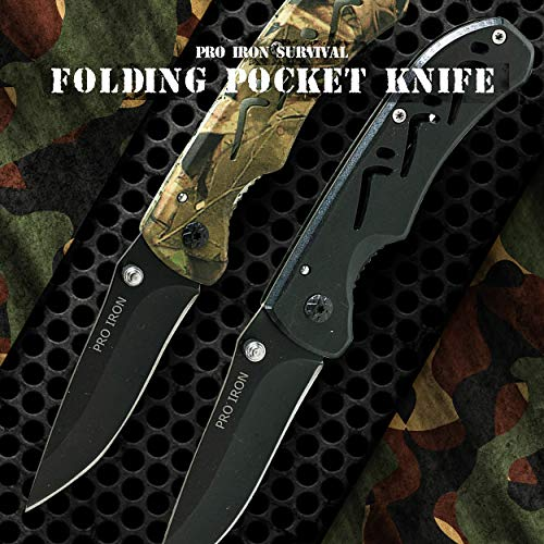 Pro Iron  3 Pro Iron Camo Survival Folding Pocket Knife Black Coated Stainless Steel (3r13) Tactical Knife with Belt Clip Liner Lock for Camping Hunting Fishing and All Other Outdoor Activities