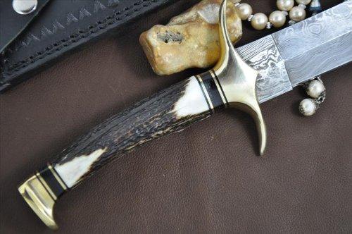 Perkin Knives  7 Handmade Damascus Steel Hunting Knife - Beautiful Bowie Knife - Amazing Value