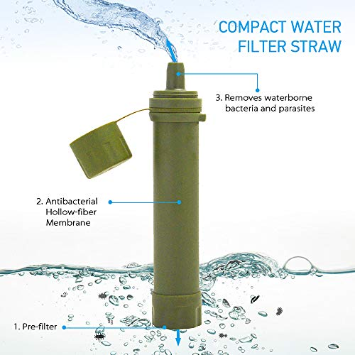Lixada  3 Lixada Straw Water Filter Survival Filtration Portable Emergency Water Purifier for Hiking Camping Travel Outing Water Supply Preparedness