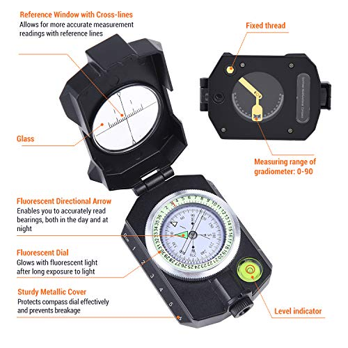 Sportneer Survival Compass 6 Sportneer Lightweight Sighting Compass with Inclinometer, Distance Calculator, Military Lensatic Waterproof Survival Compasses for Camping, Hiking, Backpacking, Boy Scout,Navigation, Boating