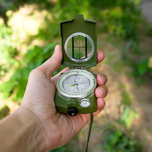 TurnOnSport Survival Compass 6 Lensatic Military Compass Hiking - Tritium Compass Military Grade style Camping Backpacking - Tactical Army Green Compass Survival Navigation - Hiking Waterproof Sighting Compass with Pouch