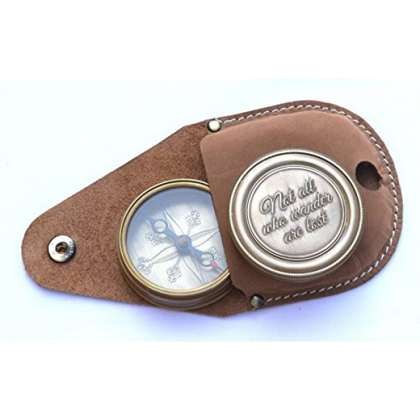 NEOVIVID Survival Compass 4 NEOVIVID Not All Who Wander are Lost Engraved Brass Compass with Leather Case, Pirates Compass, Magnetic Navigational Instrument