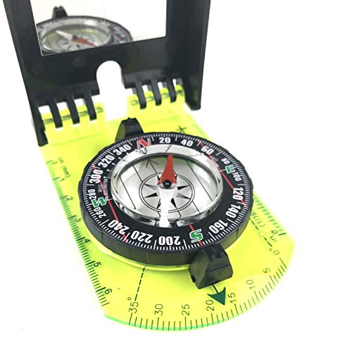 DETUCK  4 DETUCK(TM Map Compass and Protractor Green Acrylic Rotating Bezel Sighting Compass with Mirror for Camping Hiking Hunting Boating Mapping Drawing Outdoor