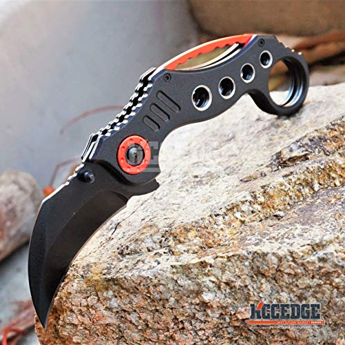 KCCEDGE BEST CUTLERY SOURCE  6 KCCEDGE BEST CUTLERY SOURCE Pocket Knife Camping Accessories Survival Kit Razor Sharp Karambit Survival Folding Knife Camping Gear EDC 55310 (Black/Red)