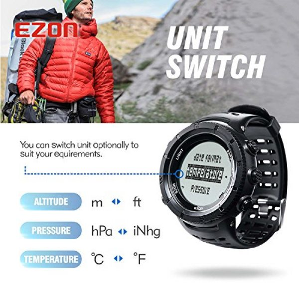 EZON Survival Compass 11 EZON Men's Digital Sports Watch for Outdoor Hiking with Compass Altimeter Barometer Thermometer Waterproof Military Watch Wristwatch H001H11