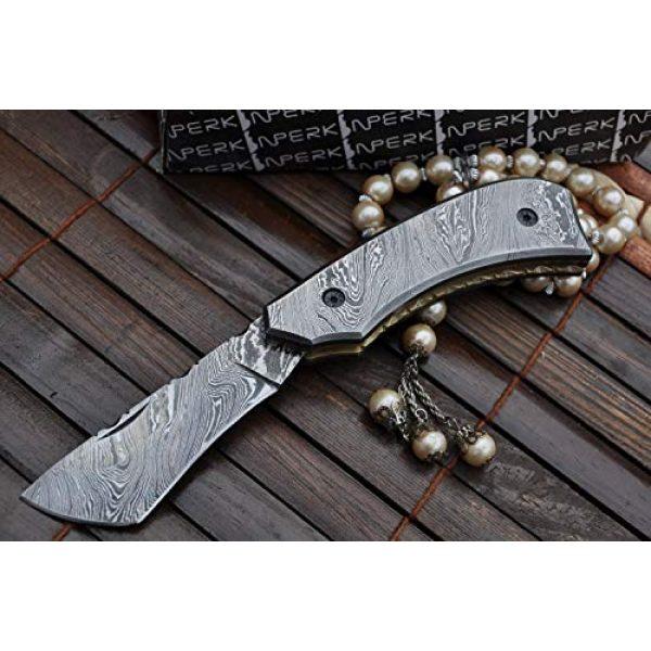 Perkin Folding Survival Knife 6 Perkin - Handmade Damascus Steel Pocket Knife - Beautiful Folding Knife