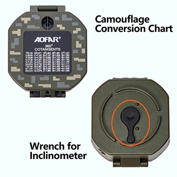 AOFAR Survival Compass 3 AOFAR AF-M2-B Military Compass Lensatic Sighting-Multifunctional, Fluorescent, Waterproof and Shakeproof with Inclinometer and Carrying Bag for Camping, Hiking, Hunting