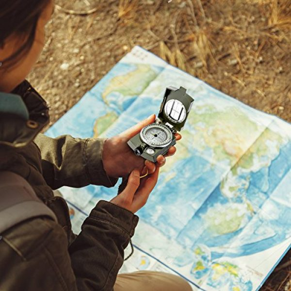 Banne Survival Compass 5 Banne Compass, Waterproof Military Compass,Camping Compass Fluorescent Pointer Compass(Army Green)