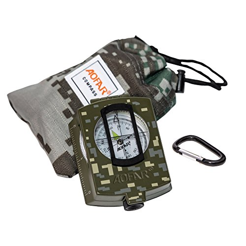 AOFAR Survival Fire Starter 2 AOFAR AF-4580/381 Military Compass Lensatic Sighting and Fire Starter Survival Kit,Waterproof and Shakeproof Measurer Distance Calculator and Pouch for Camping, Hiking, Hunting, Backpacking