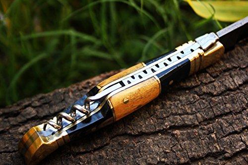 "DKC Knives  7 DKC Knives (14 5/18) Sale DKC-53 Blonde Squire Damascus Folding Laguiole Pocket Knife 4.5"" Folded 8"" Long 2.5oz oz High Class Looks Hand Made"
