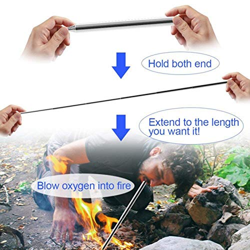Terberl Survival Fire Starter 4 Terberl 6 Pieces Collapsible Stainless Steel Fire Bellow, Collapsible Outdoor Blow Fire Tube for Picnic Camping Hiking