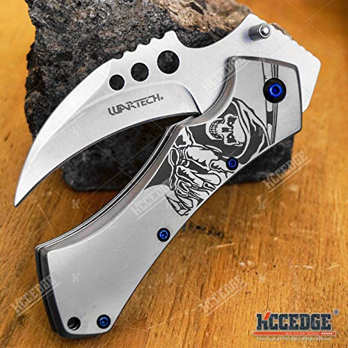KCCEDGE BEST CUTLERY SOURCE  4 KCCEDGE BEST CUTLERY SOURCE Pocket Knife Camping Accessories Survival Kit 5 Inch Grim Reaper Scythe Tactical Knife Hunting Knife Camping Gear 78364