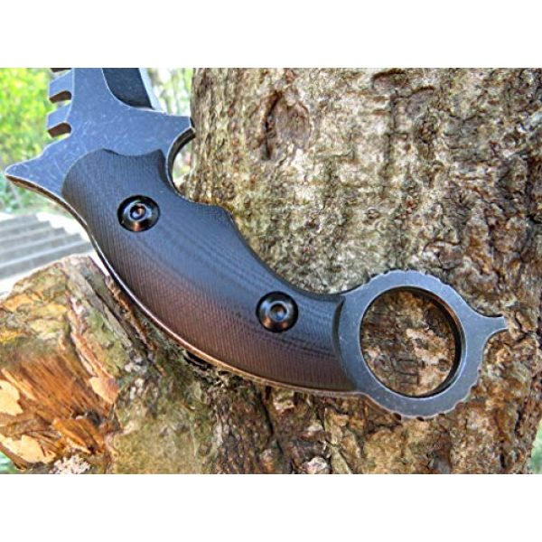 Canku Fixed Blade Survival Knife 5 Canku C1696 Fixed Blade Knife D2 Steel G10 Handle 4.3 Inches, Outdoor Survival Claw Tactical Teeth Knife Double Edged Sharp, Camping EDC Tools, Kydex Sheaths