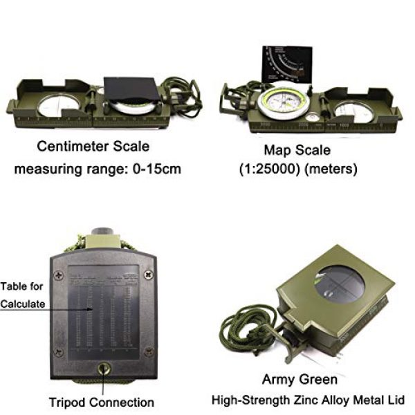 DETUCK Survival Compass 3 DETUCK(TM Military Compass Metal Lensatic Compass with Inclinometer, Night Fluorescent, Impact Resistant and Waterproof, Sighting Navigation Survival Compass for Hiking, Camping, Hunting, etc