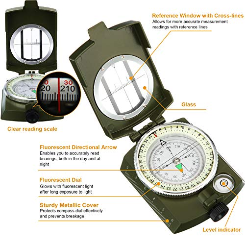 BBTO  3 2 Pieces Military Lensatic Sighting Compass Metal Sighting Navigation Compasses Impact Resistant Waterproof Lightweight Inclinometer Compasses with Carrying Bag for Hiking Camping Motoring Hunting