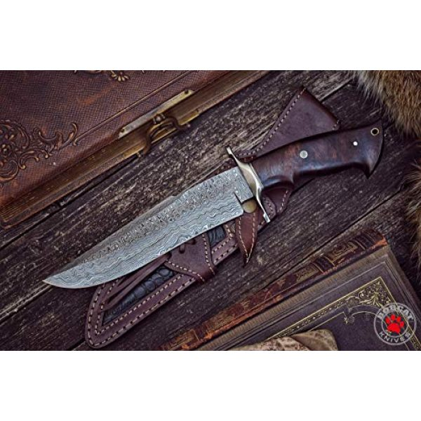 Bobcat Knives Official Fixed Blade Survival Knife 4 Bobcat Knives - 13-inch Overall, Raptor Hunting Bowie Knife - Full Tang Fixed Blade Damascus Steel - Walnut Wood Handle with Leather Sheath