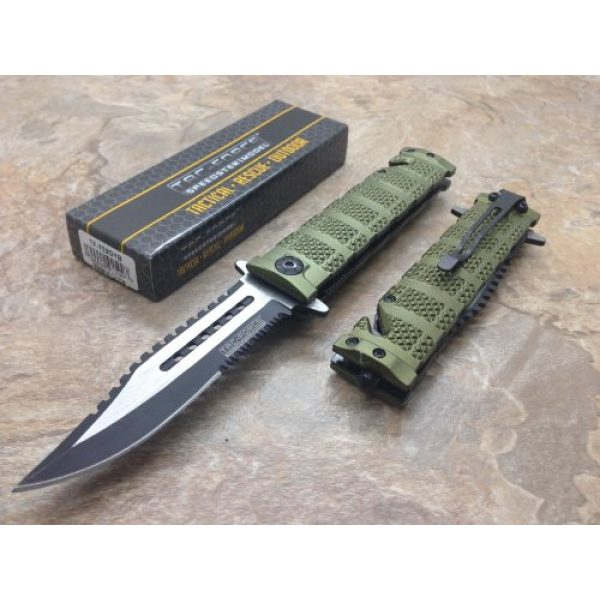 TAC Force Folding Survival Knife 2 TAC Force Assisted Opening Rescue Tactical Pocket Folding Sawbaw Bowie Knife Outdoor Survival Camping Hunting w/Glass Breaker - Green