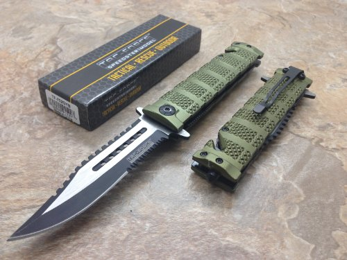 TAC Force  2 TAC Force Assisted Opening Rescue Tactical Pocket Folding Sawbaw Bowie Knife Outdoor Survival Camping Hunting w/Glass Breaker - Green