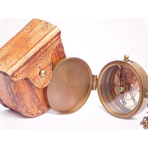NEOVIVID Survival Compass 3 NEOVIVID Grow Old with ME Engraved Brass Compass ON Chain with Leather CASE, Directional Magnetic Compass