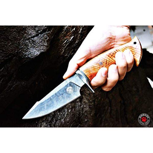 Bobcat Knives Fixed Blade Survival Knife 3 Bobcat Knives Custom Handmade Hunting Knife Damascus Steel Blade Olive Wood Handle 10'' Overall