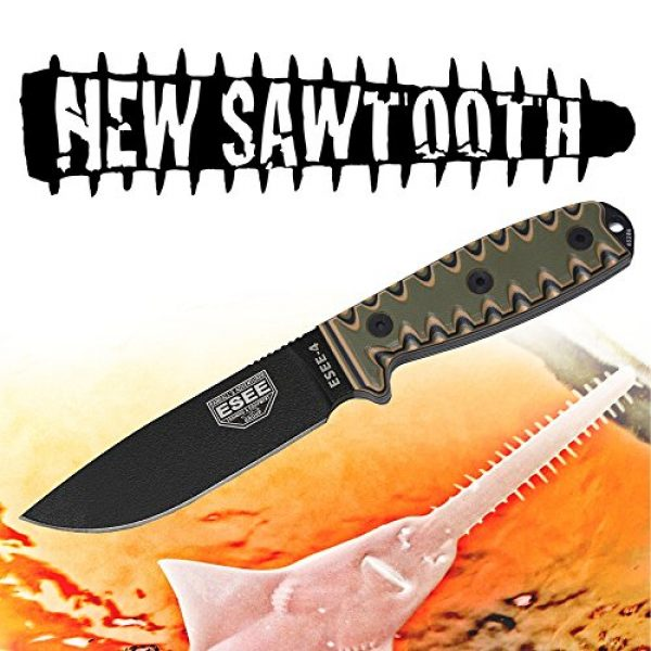 ESEE Fixed Blade Survival Knife 2 ESEE 4P Survival Fixed Blade Knife, OEM Sawtooth Handle Design