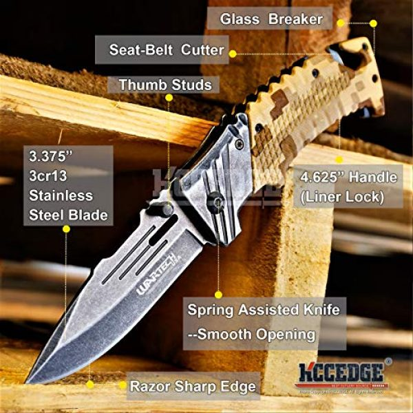 KCCEDGE BEST CUTLERY SOURCE Folding Survival Knife 2 KCCEDGE BEST CUTLERY SOURCE Pocket Knife Camping Accessories Survival Kit Razor Sharp Edge Camouflage Folding Knife with Glass Breaker Cord Cutter Camping Gear 56843