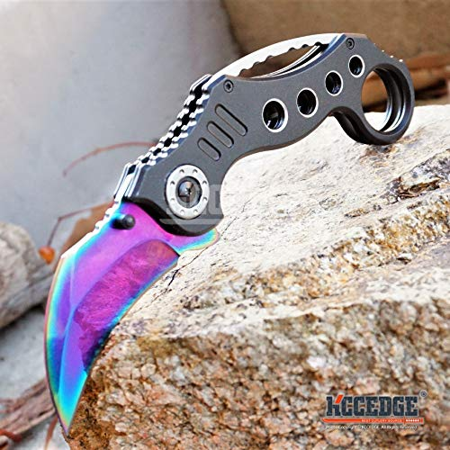 KCCEDGE BEST CUTLERY SOURCE  6 KCCEDGE BEST CUTLERY SOURCE Pocket Knife Camping Accessories Survival Kit Razor Sharp Karambit Survival Folding Knife Camping Gear EDC 55310 (Rainbow)