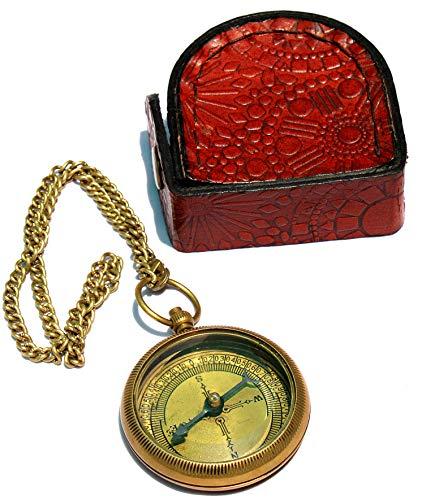 Sara Nautical Survival Compass 7 Sara Nautical Go Confidently Thoreau's Quote Engraved Compass with Leather Case.