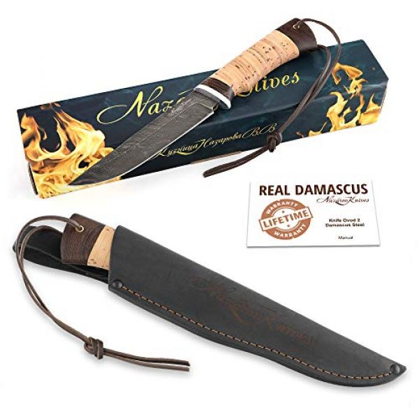 Nazarov Knives Fixed Blade Survival Knife 7 Fixed Blade Steel Hunting Knife - Sharpened OVOD Damascus Steel Blade and Crafted Birchbark/Hornbeam Handles - Comes with Genuine Leather Sheath - Full - Handmade in Russia