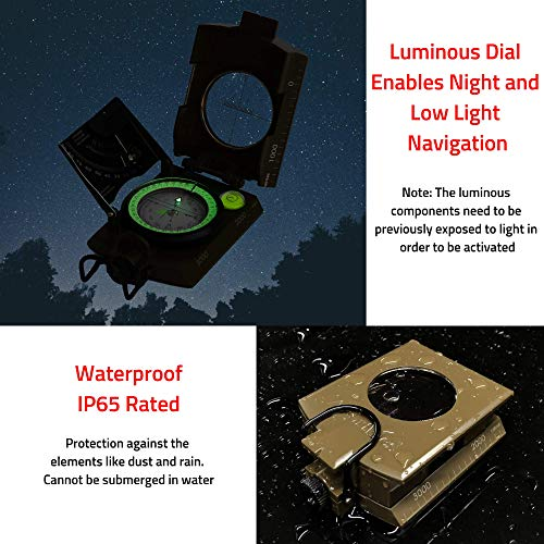 Northies Survival Compass 5 Northies Combo Pack Military Lensatic Sighting Compass and Paracord Survival Bracelet, Fire Starter, Whistle, Aluminum Alloy, Waterproof, Carrying Bag, Tactical Outdoor Gear for Camping and Hiking