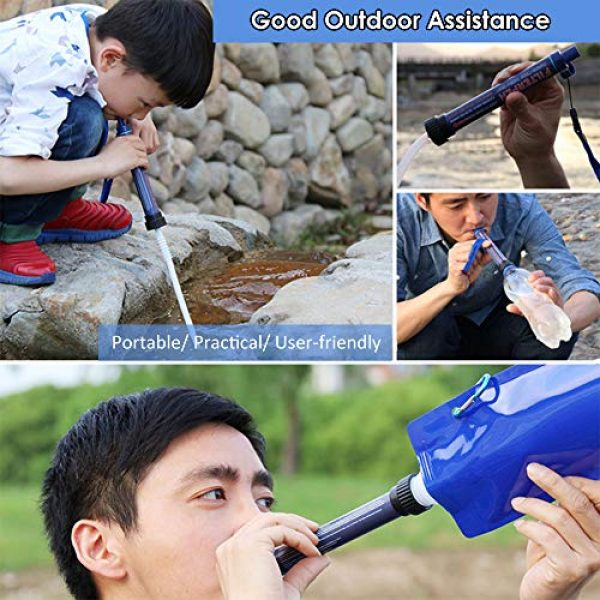 Lixada Survival Water Filter 6 Lixada Straw Water Filter Portable Emergency Survival Water Purifier Filtration System Bottom Thread Ultrafiltration Film Design for Hiking Camping Travel Outing Water Supply Preparedness