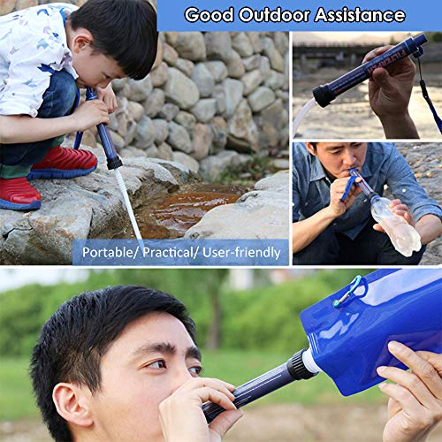 Lixada  6 Lixada Straw Water Filter Portable Emergency Survival Water Purifier Filtration System Bottom Thread Ultrafiltration Film Design for Hiking Camping Travel Outing Water Supply Preparedness