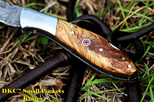 """DKC Knives  4 DKC Knives DKC-58-LJ-OW Little Jay Damascus Folding Pocket Knife Olive Wood Handle 4"""" Folded 7"""" Long 4.7oz oz High Class Looks Feels Great in Your Hand and Pocket Hand Made LJ-Series"""