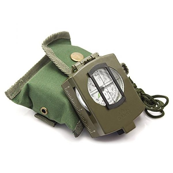 Banne Survival Compass 6 Banne Compass, Waterproof Military Compass,Camping Compass Fluorescent Pointer Compass(Army Green)