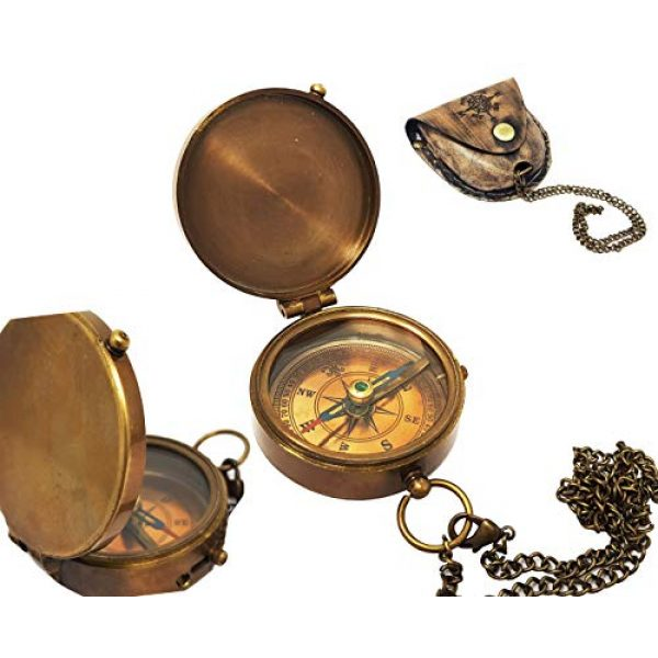 Brass Nautical Survival Compass 7 Brass Nautical - Antique Brass Compass Nautical Pocket Backpacking Compass Leather Case Vintage Camping Hiking Direction Marine Graduation Confirmation Day Engravable for Men Quality Travel