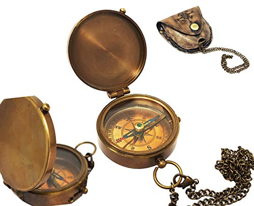 Brass Nautical  7 Brass Nautical - Antique Brass Compass Nautical Pocket Backpacking Compass Leather Case Vintage Camping Hiking Direction Marine Graduation Confirmation Day Engravable for Men Quality Travel