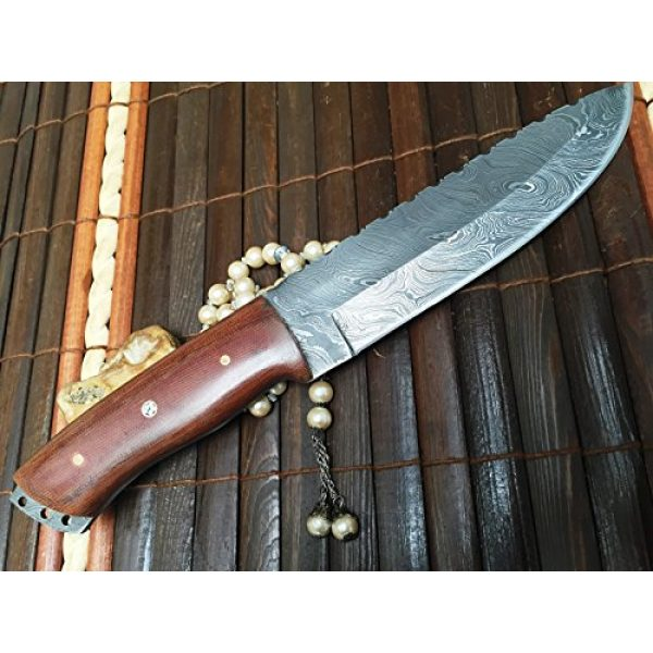 Perkin Fixed Blade Survival Knife 3 Perkin - Handmade Damascus Hunting Knife with Sheath