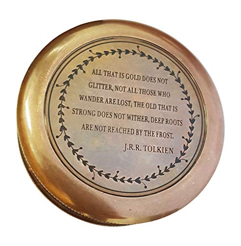 Brass Nautical  3 Brass Nautical - Brass Compass with Leather Case J.R.R. Tolkien Directional Magnetic LOTR Compass for Graduation Day Navigation/Pocket Compass for Camping