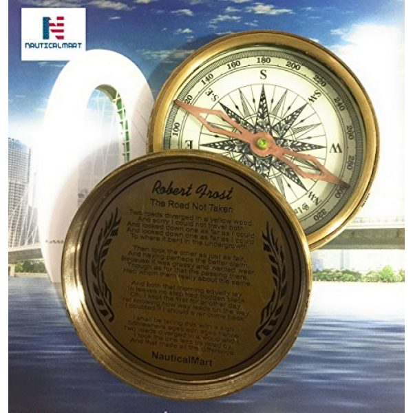 "NauticalMart Survival Compass 2 NauticalMart Vintage Nautical Brass Compass 3"" Robert Frost Poem Engraved Antique Compass (Marine Brass Compass)"